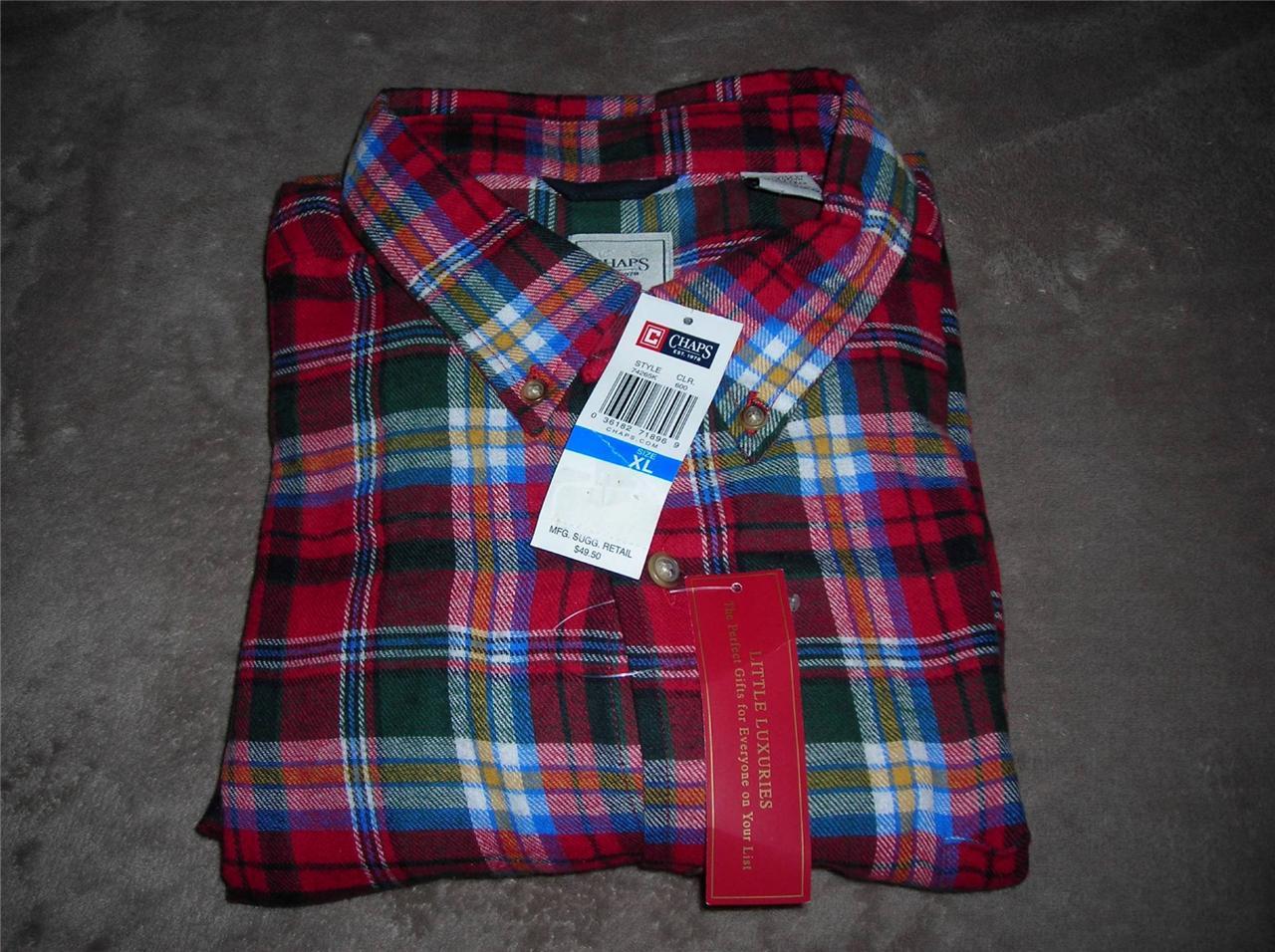 Chaps men 39 s super soft double brushed flannel plaid shirt for Super soft flannel shirts