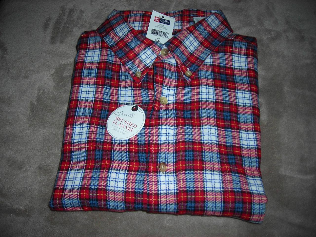 Chaps men 39 s super soft double brushed flannel plaid shirt for Mens xl flannel shirts