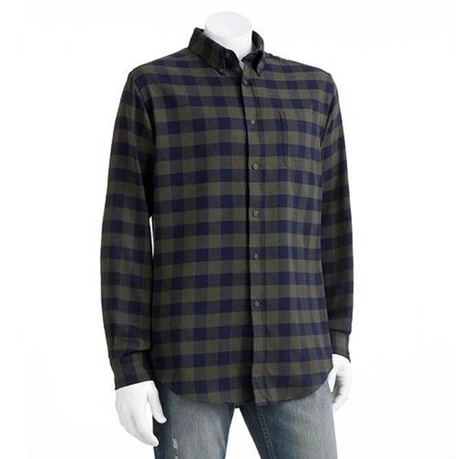 Croft Barrow Mens Signature Flannel Buffalo Plaid Shirt