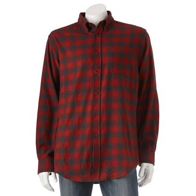 Croft barrow mens signature flannel buffalo plaid shirt for Mens xl flannel shirts