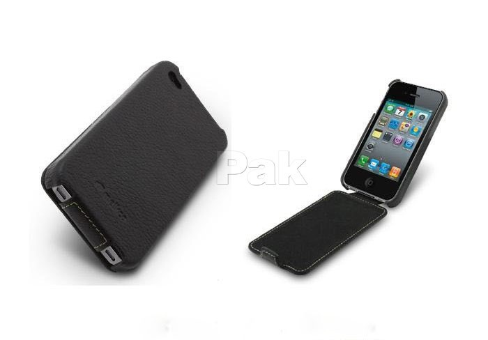 White Hand Made Leather Flip Case Cover for iPhone 4 4S