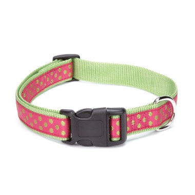 NEW Polka Dot Nylon Dog Collar with Ribbon Overlay in Pink Green or Orange