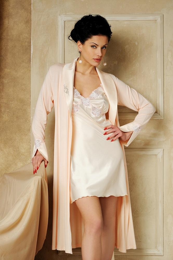 Silk Nightgown And Robe