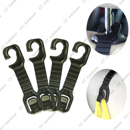 4x black universal car back seat headrest purse bag holder hooks for bag pruse ebay. Black Bedroom Furniture Sets. Home Design Ideas