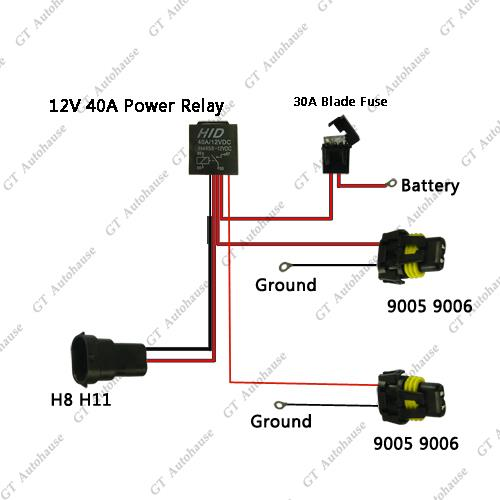 H relay wiring harness for hid conversion kit add