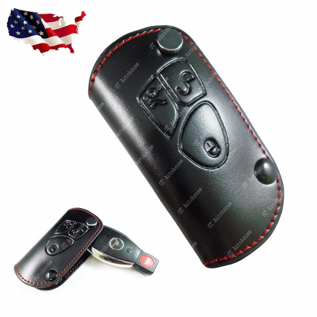 Black premium leather key fob holder cover case for for Mercedes benz key holder