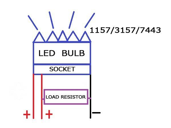 2x dual color 7443 60 smd led turn signal light bulbs load please follow the installation diagram below to connect those load resistors to your turn light wiring system