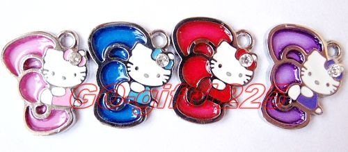 50 Pcs bowknot hello kitty Charm Metal Pendant jewelry Make Gift
