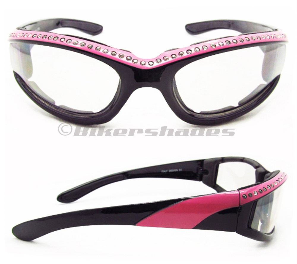 Rhinestone Motorcycle Sunglasses for Women Choose Pink, Purple, Red, Black Frame