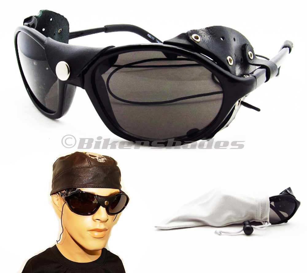 Aviator Sunglasses Leather Side  removable leather side shield motorcycle polarized sunglasses with