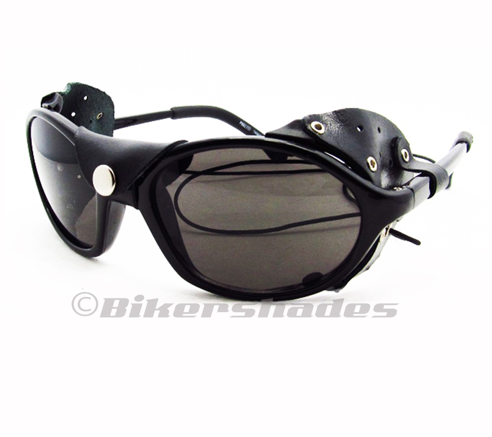Side Shield Sunglasses  removable leather side shield motorcycle polarized sunglasses with
