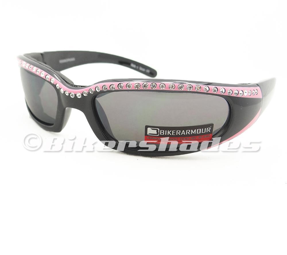 Motorcycle Rhinestone Sunglasses Goggles Biker Riding Women SMOKE Lens S-M Pink