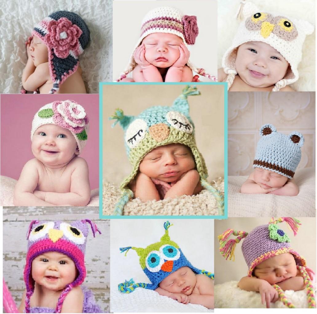 Newborn-Large baby beanie teddy ears flower crochet knit girl boy ... 24f1f14a1646
