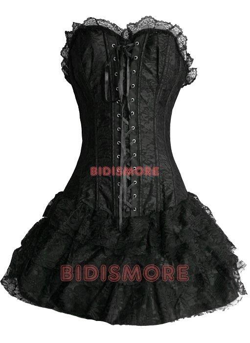 Black-Floral-Gothic-Punk-Lolita-1pcs-Corset-Dress-S-M-L-XL