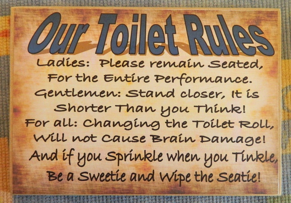 Country Printed Quality Wooden Sign Hanger OUR Toilet