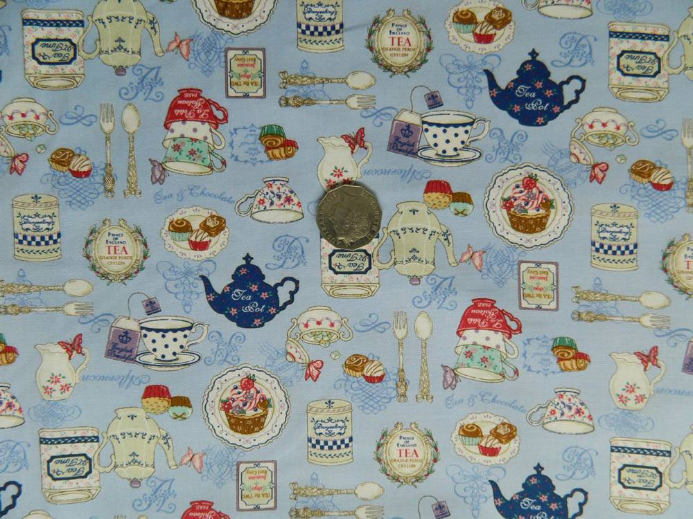 Quilting Ideas For Kitchen : COUNTRY QUILTING FABRIC- Kitchen Teapots design Blue - Fat Quarter 50x55cm