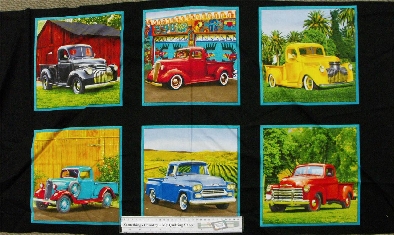patchwork quilting fabric vintage utes pickup trucks