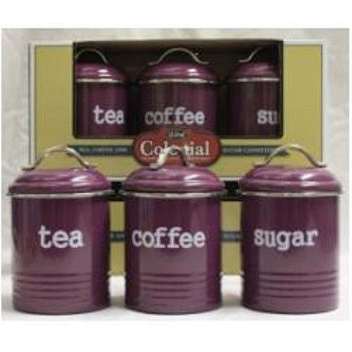 enamel retro kitchen canisters assorted colours tea