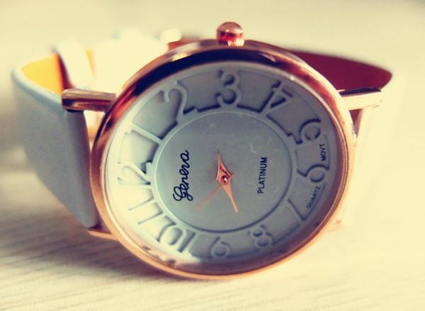 Fashion Ladies Geneva Platinum See Through Dial Analog Quartz Wrist Watches