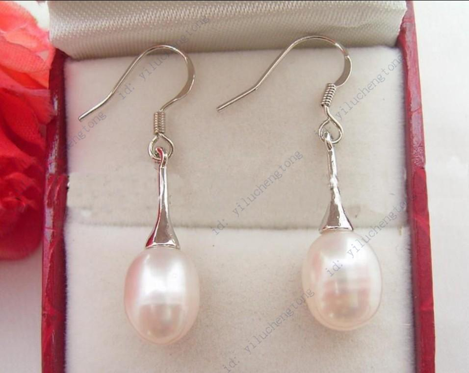 BEAUTIFUL! REAL NATURAL WHITE CULTURED PEARL DANGLE DROP EARRING ...