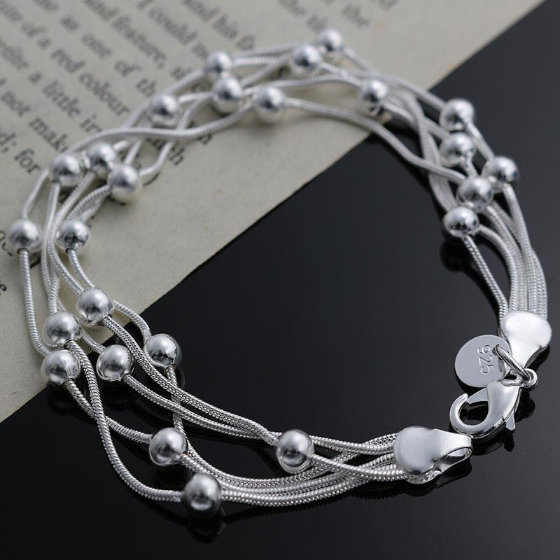 2015 wholesale 925sterling silver jewelry chain bracelet charm bangle Love gift