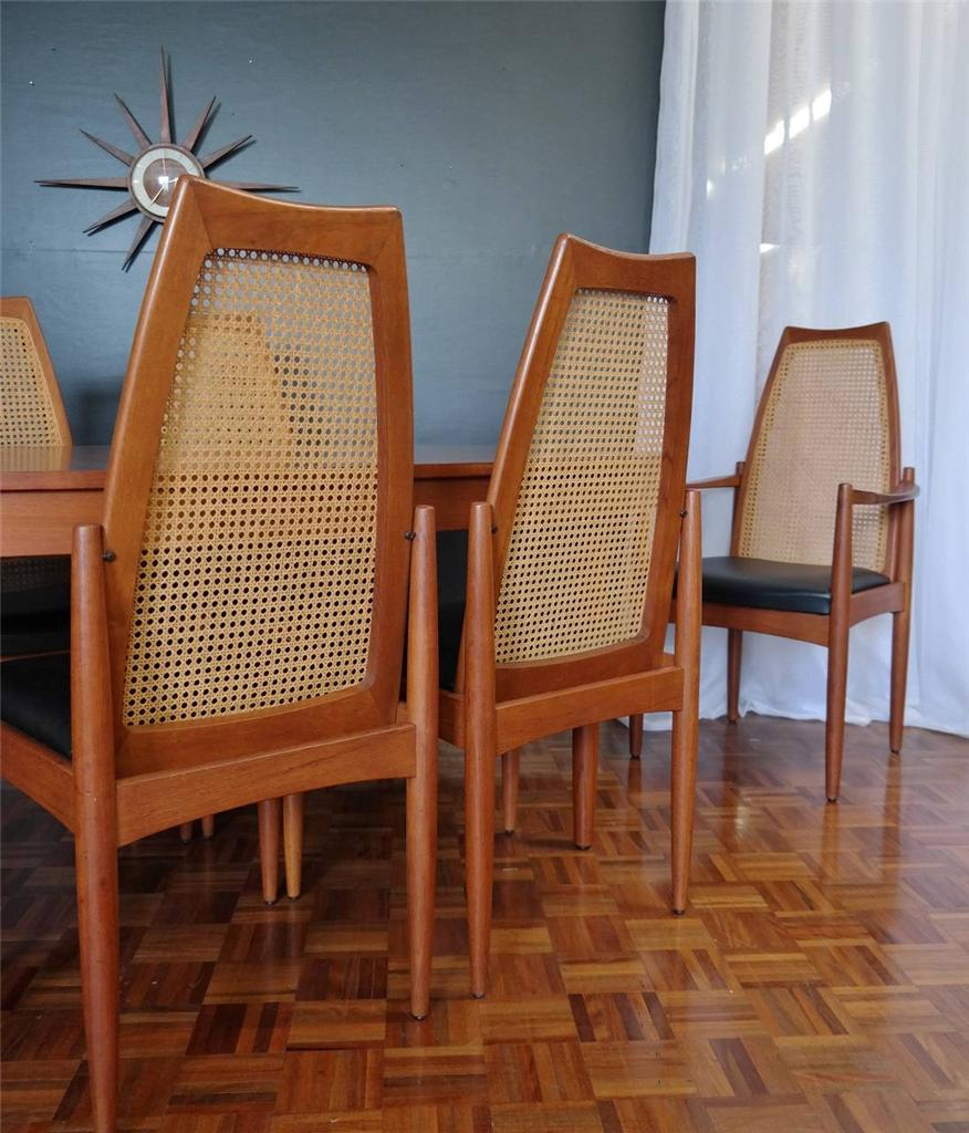 MID-CENTURY-chiswell-TEAK-DINING-CHAIRS-set-of-six-RETRO-vintage-fler-parker-era