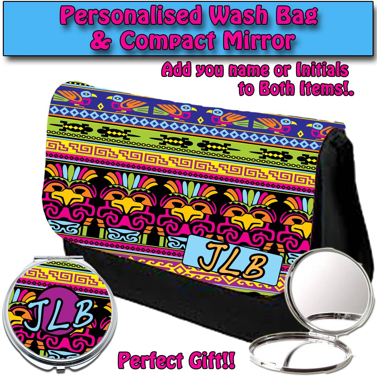 PERSONALISED-WOMENS-AZTEC-1-MAKE-UP-BAG-COMPACT-MIRROR-LADIES-GIFT-032