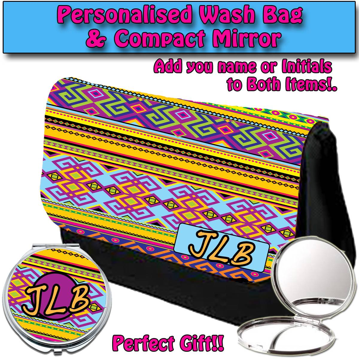 PERSONALISED-WOMENS-AZTEC-3-MAKE-UP-BAG-COMPACT-MIRROR-LADIES-GIFT-034