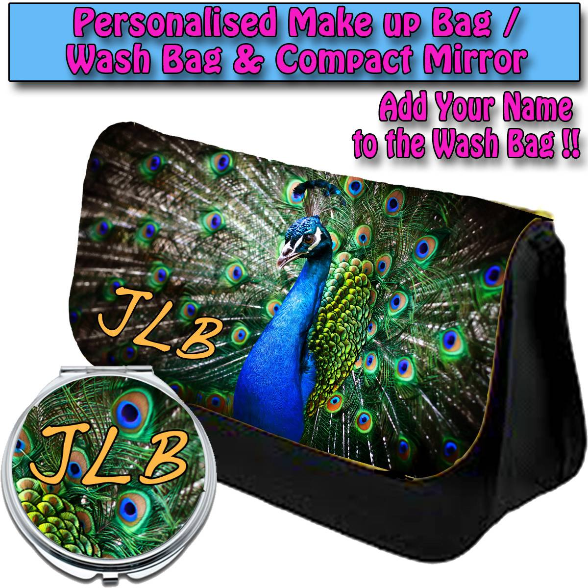 PERSONALISED-WOMENS-PEACOCK-BIRD-MAKE-UP-BAG-COMPACT-MIRROR-LADIES-GIFT031