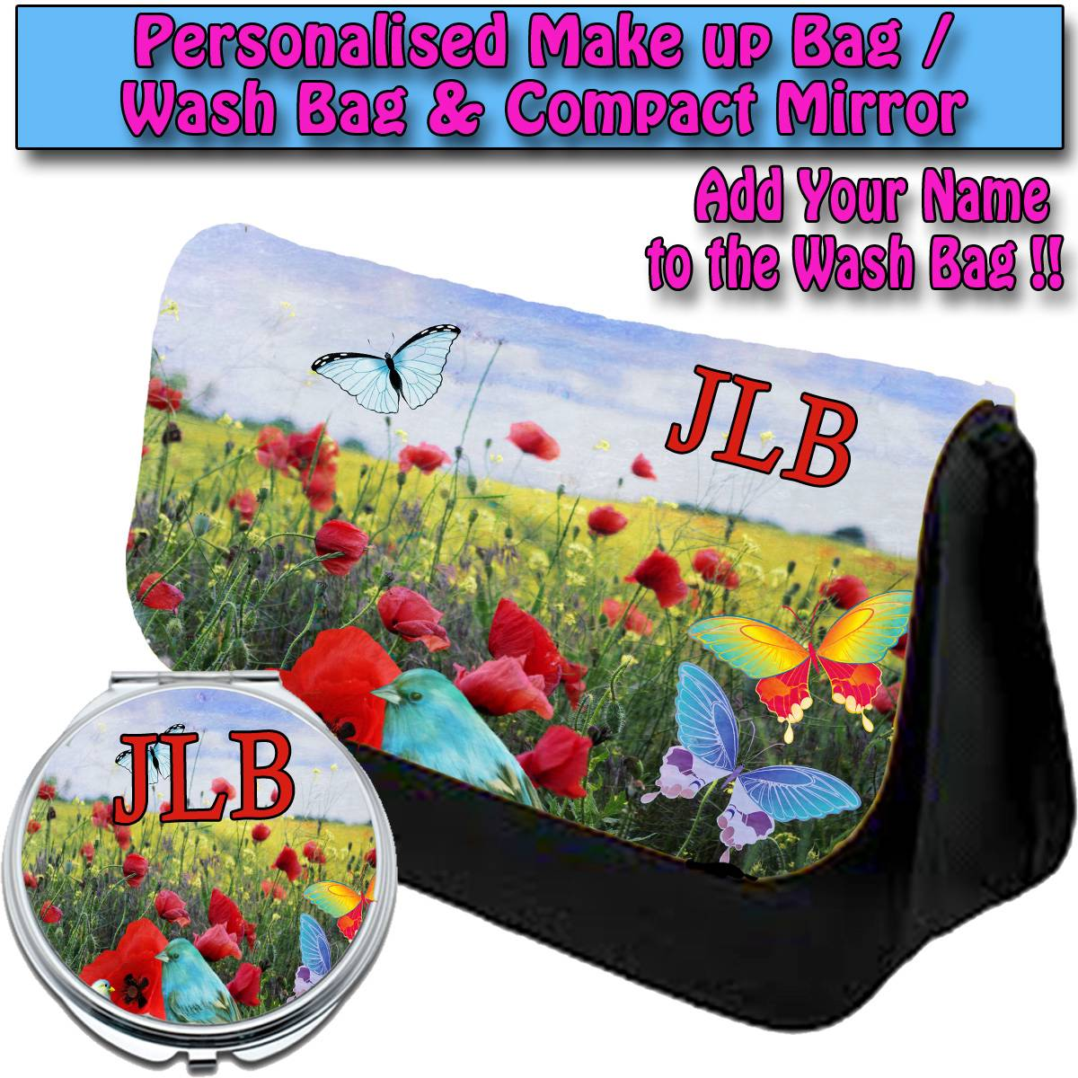PERSONALISED-WOMENS-BUTTERFLY-BIRD-MAKE-UP-BAG-COMPACT-MIRROR-LADIES-GIFT008