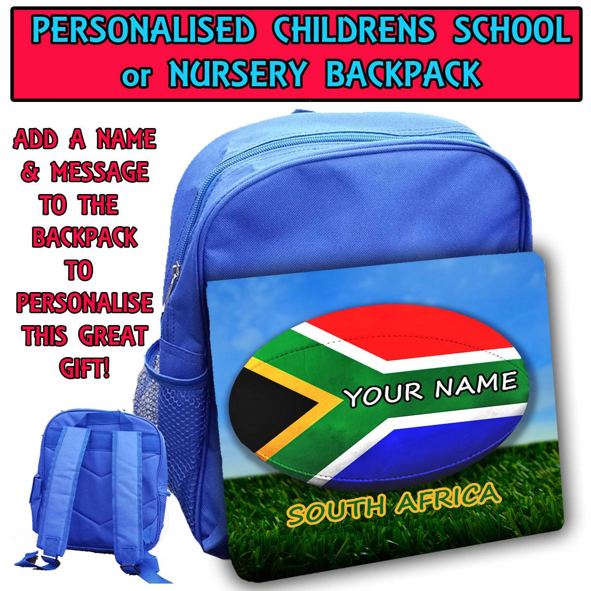 ... -RUGBY-SOUTH-AFRICA-KIDS-RUCKSACK-SCHOOL-BAG-BLUE-BACKPACK-SH241