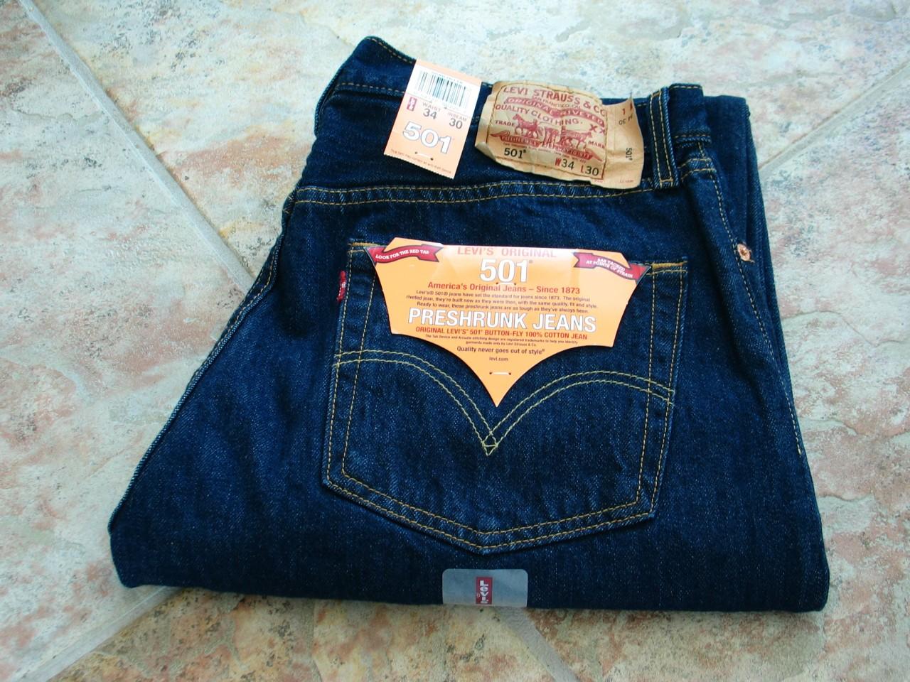 levis 501 herren jeans rinsed indigo groesse w34 l29 ebay. Black Bedroom Furniture Sets. Home Design Ideas
