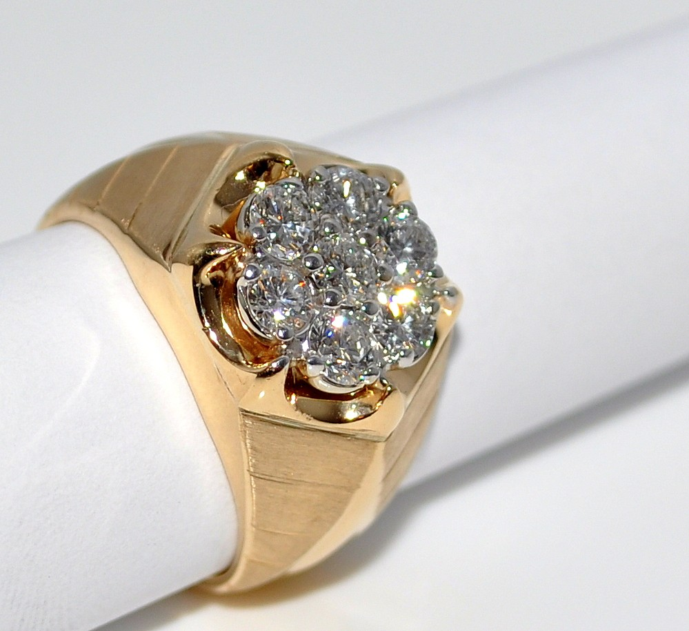 1ct Mens Diamond Ring 7 Big Round Diamonds Pinky Wedding 14K Solid 13mm sz 6