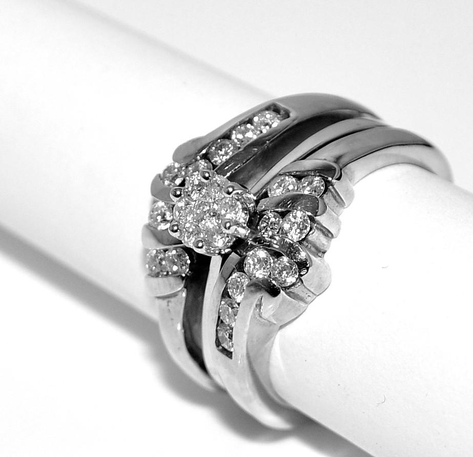 Wedding Set Engagement Ring Jacket White Gold 14K Diamons 3