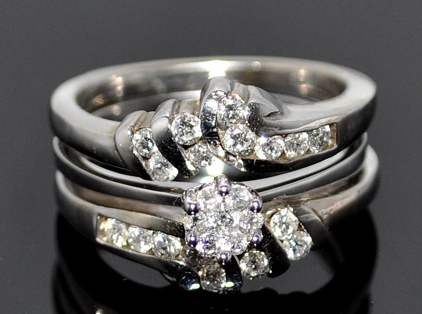 Wedding Set Engagement Ring Jacket White Gold 14K 062ct Diamons 3
