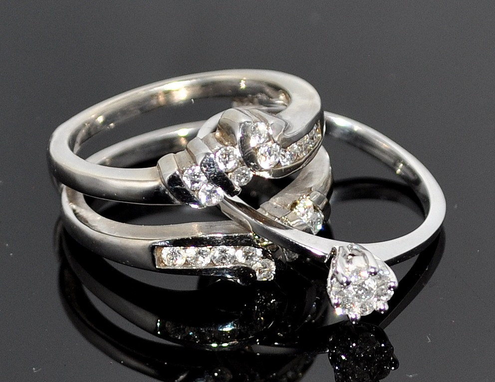 Wedding Set Engagement Ring Jacket White Gold 14k 0 62ct