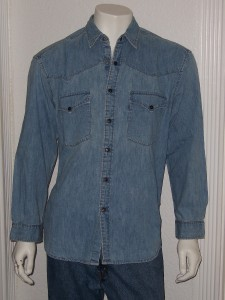 Vintage Levis Red Tab Western Barstow LS Denim Shirt Sz L Snap