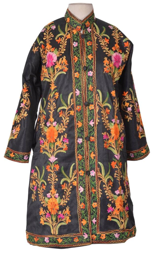 L Silky Kashmir Long Jacket Fine Embroidery Party Coat