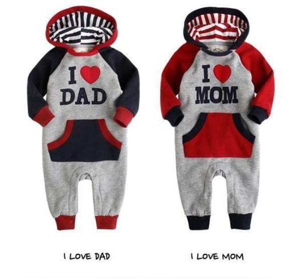 Детская одежда и обувь в Москве. Качественный комбинезончик с капюшоном , 100% хлопок I love dad - Размер 80