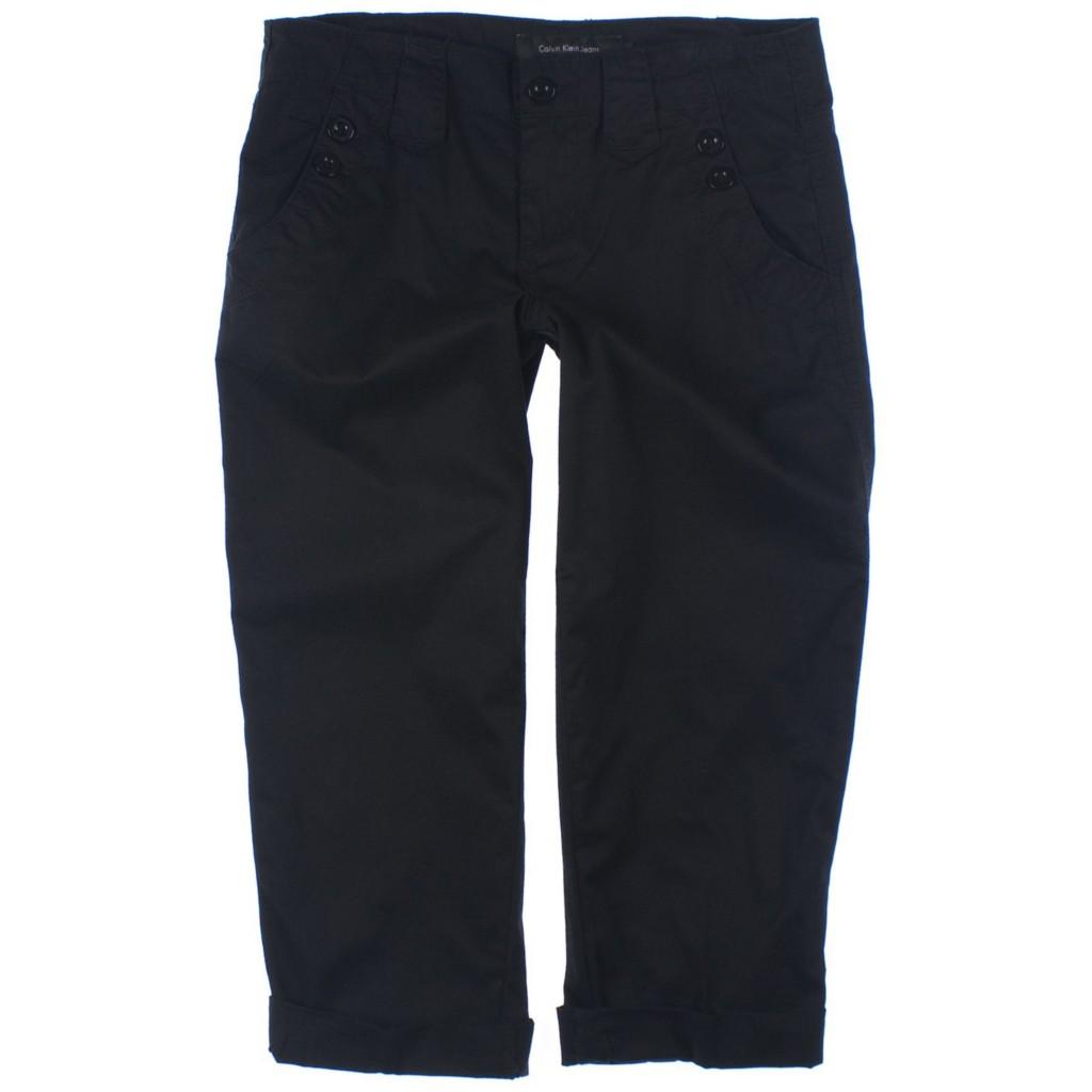 NWT-Womens-Calvin-Klein-Button-Cuffed-Cotton-Capri-Pant