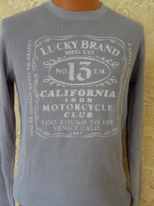 NEW Mens LUCKY BRAND JEANS LONG SLEEVE Thermal Shirt Motorcycle Club