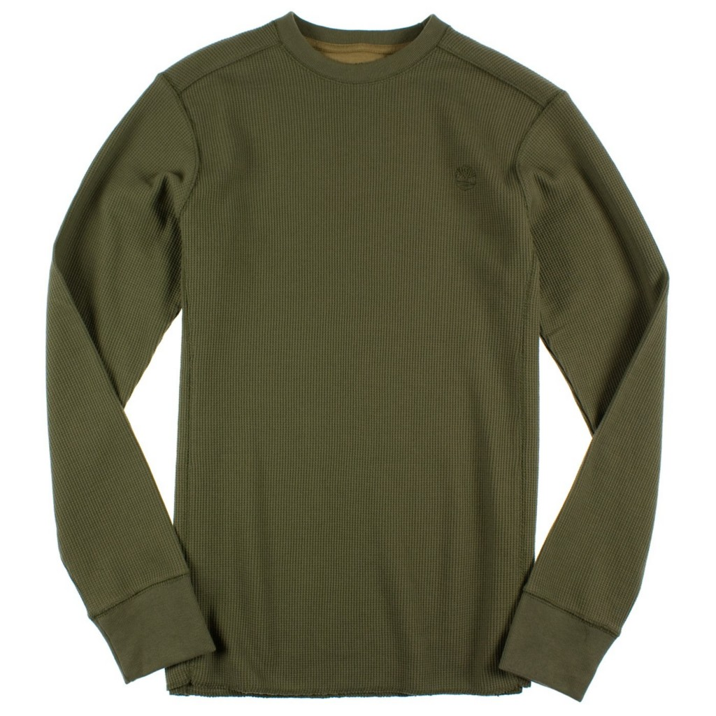 New w t mens timberland thermal long sleeve waffle for Thermal t shirt long sleeve