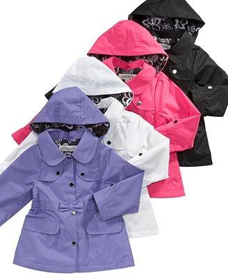 NEW LONDON FOG GIRLS Fleece Lined Rain Snow Jacket Coat with Hood