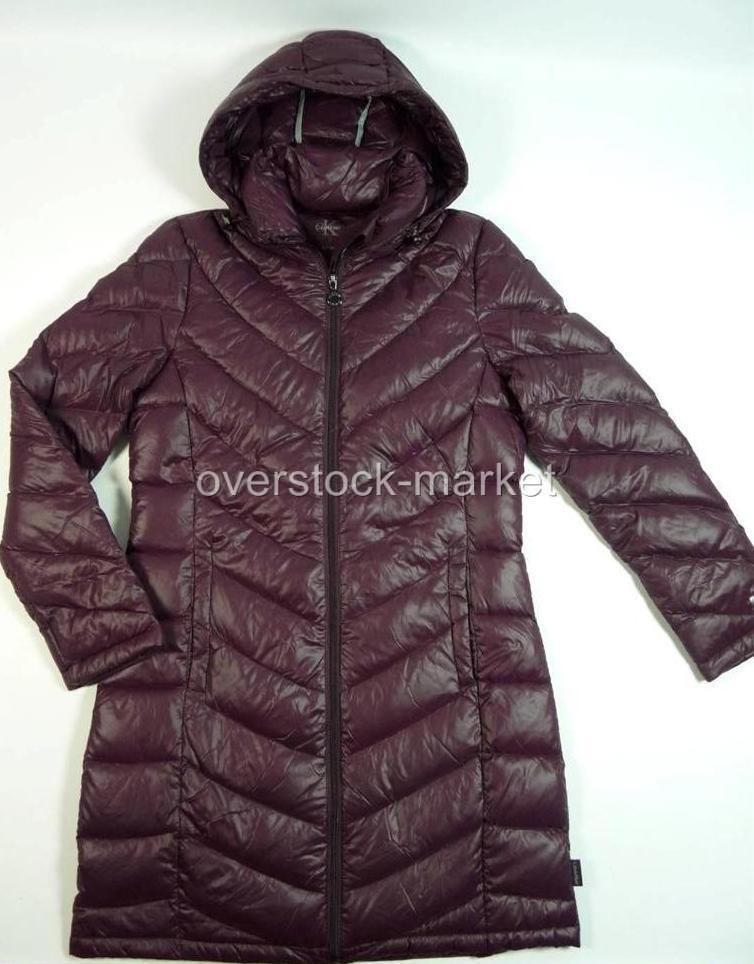 New women s calvin klein hooded down packable long lightweight jacket