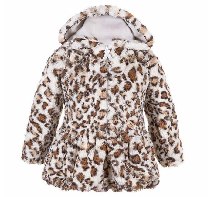 New Girls American Widgeon Faux Fur Hooded Peplum Coat So