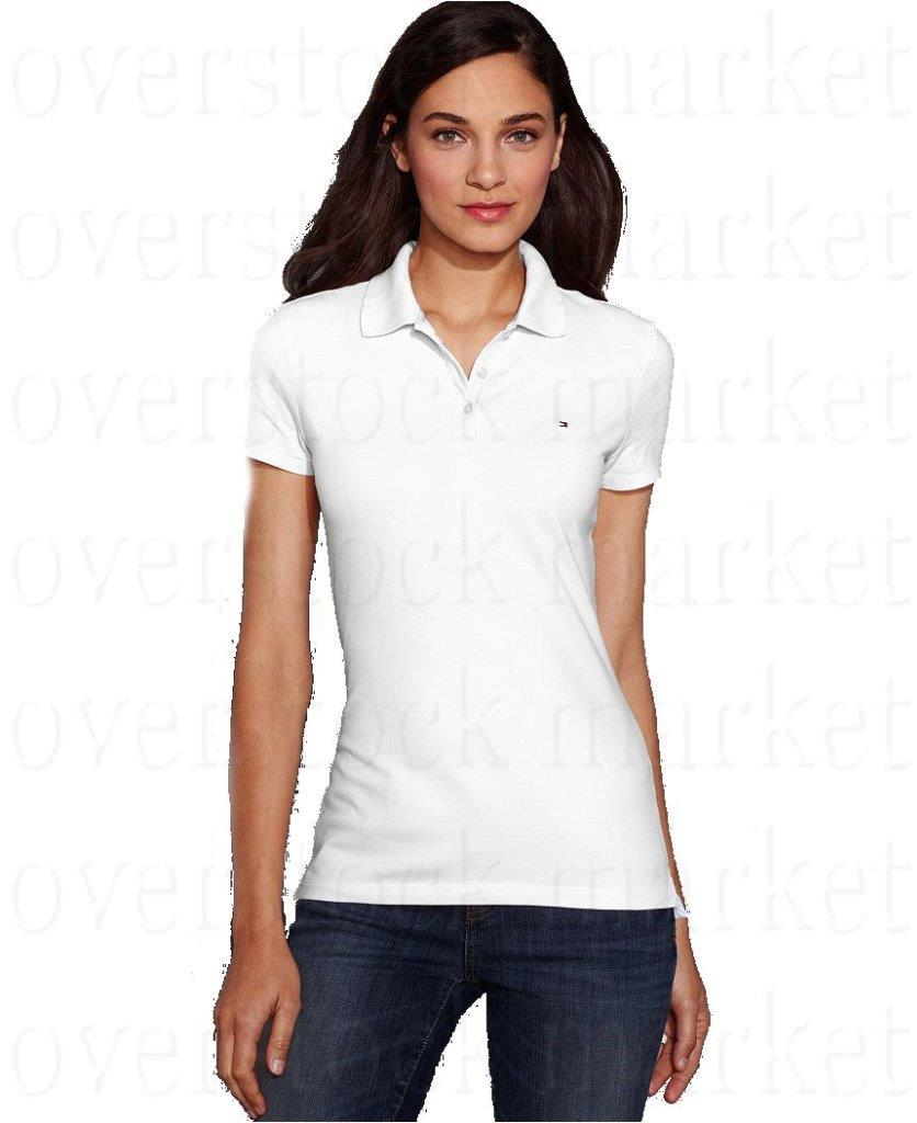 New womens tommy hilfiger classic fit polo shirt 3 button for Tommy hilfiger vintage fit shirt