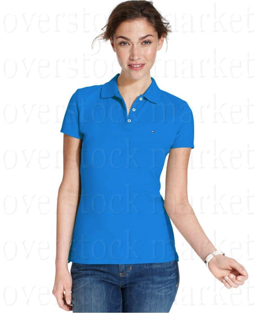 New Womens Tommy Hilfiger Classic Fit Polo Shirt 3 Button
