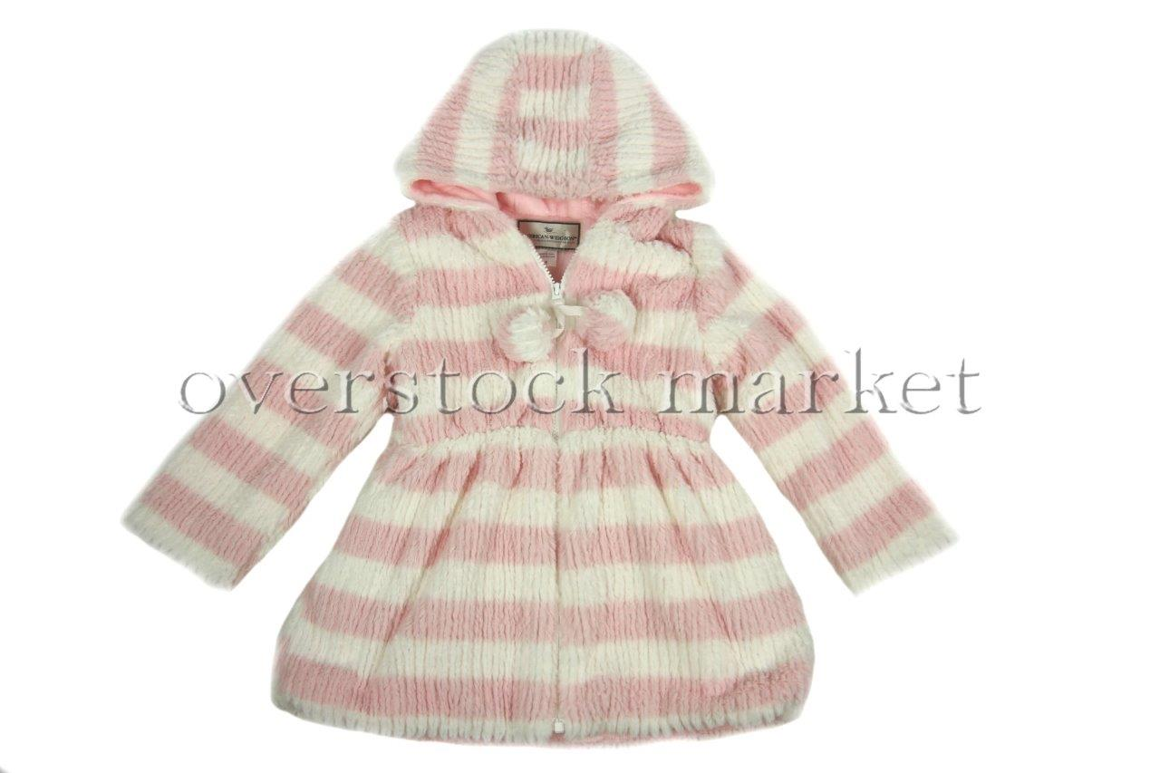 new girls american widgeon faux fur hooded peplum coat  so soft  variety