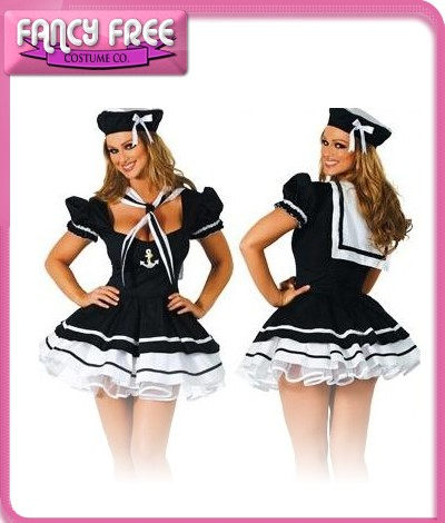 New-Womens-High-Seas-Sailor-Girl-Fancy-Dress-Up-Party-Costume-and-Hat-Size-10-12