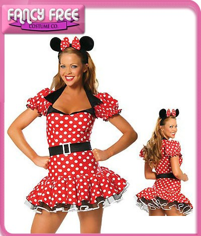 New-Ladies-Minnie-Mouse-Fancy-Dress-Up-Disney-Party-Costume-plus-Ears-Size-10-12